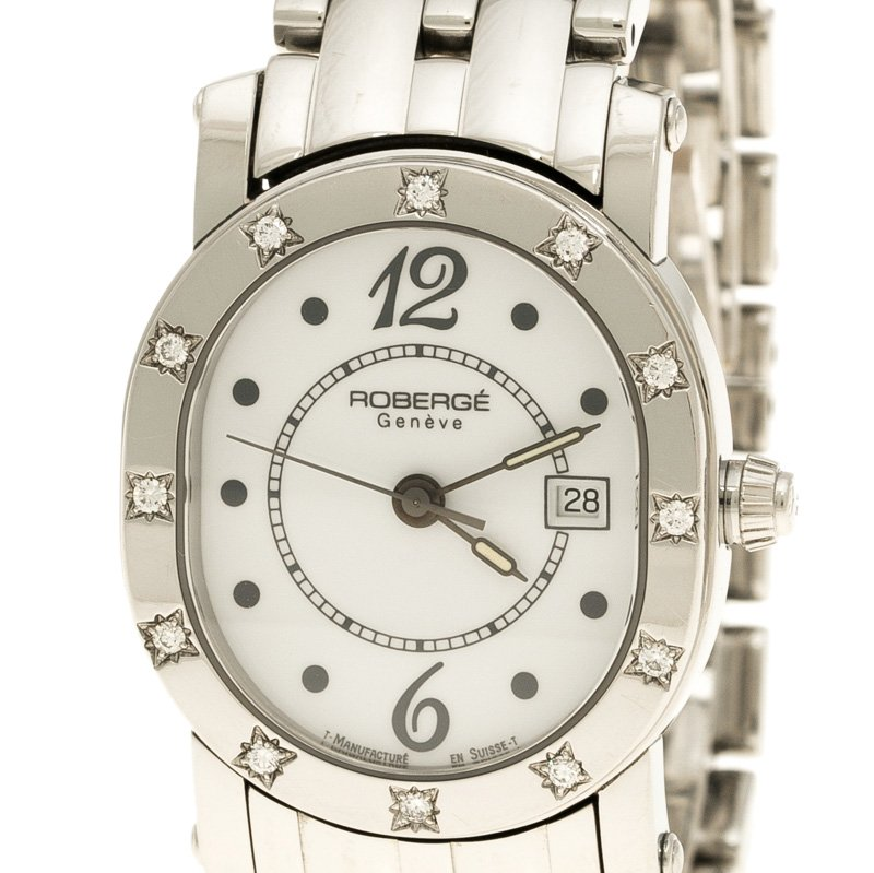 Roberge White Stainless Steel Diamond Andromede RS Women's Wristwatch 27 mm
