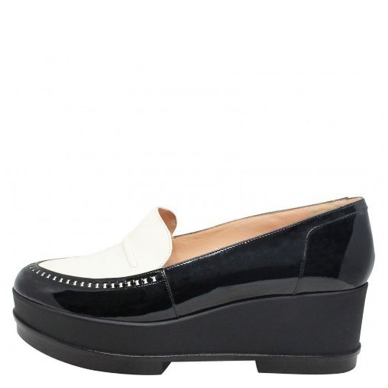 fbe9399e2ee ... Robert Clergerie Monochrome Patent Leather Yojolej Platform Wedge  Loafers Size 40. nextprev. prevnext
