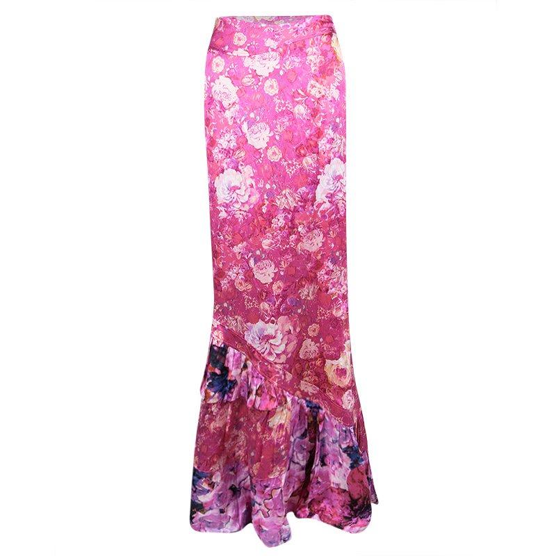 7dfec0af09 ... Roberto Cavalli Pink Satin Floral Print Ruffled Bottom Maxi Skirt L.  nextprev. prevnext
