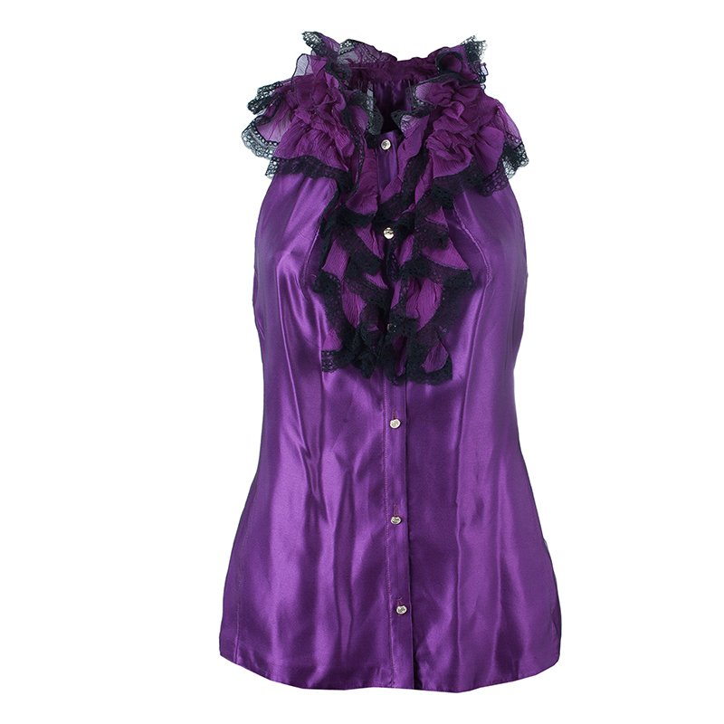 Roberto Cavalli Purple Sleeveless Top M