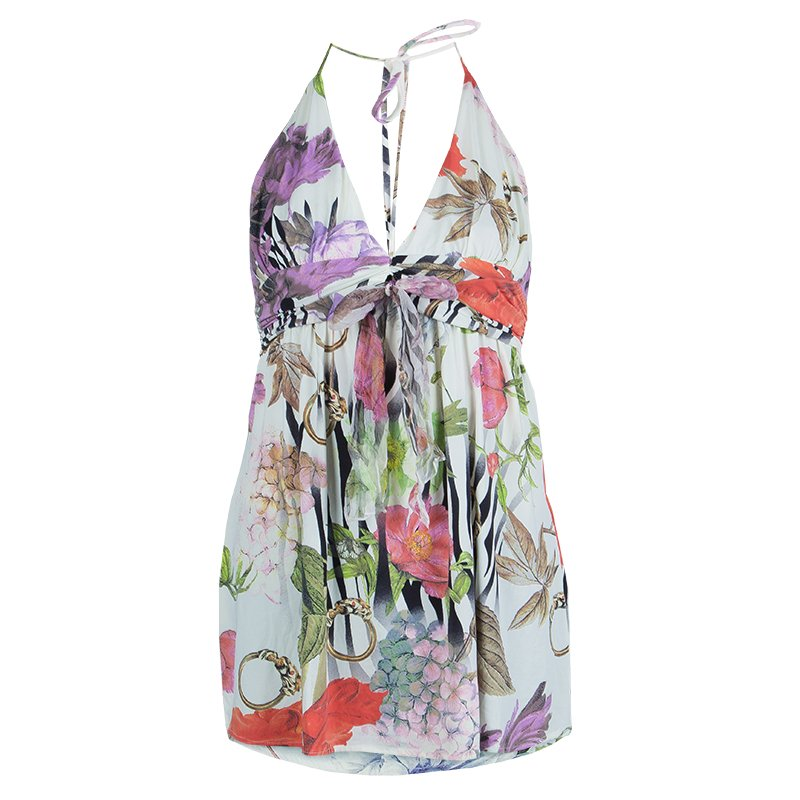 Class by Roberto Cavalli Multicolor Floral Print Knit Halter Top L