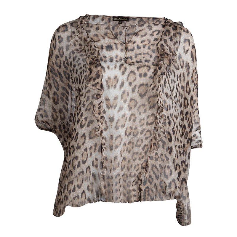 73bb2d6d4b31f ... Roberto Cavalli Leopard Print Sheer Silk Blouse XS. nextprev. prevnext