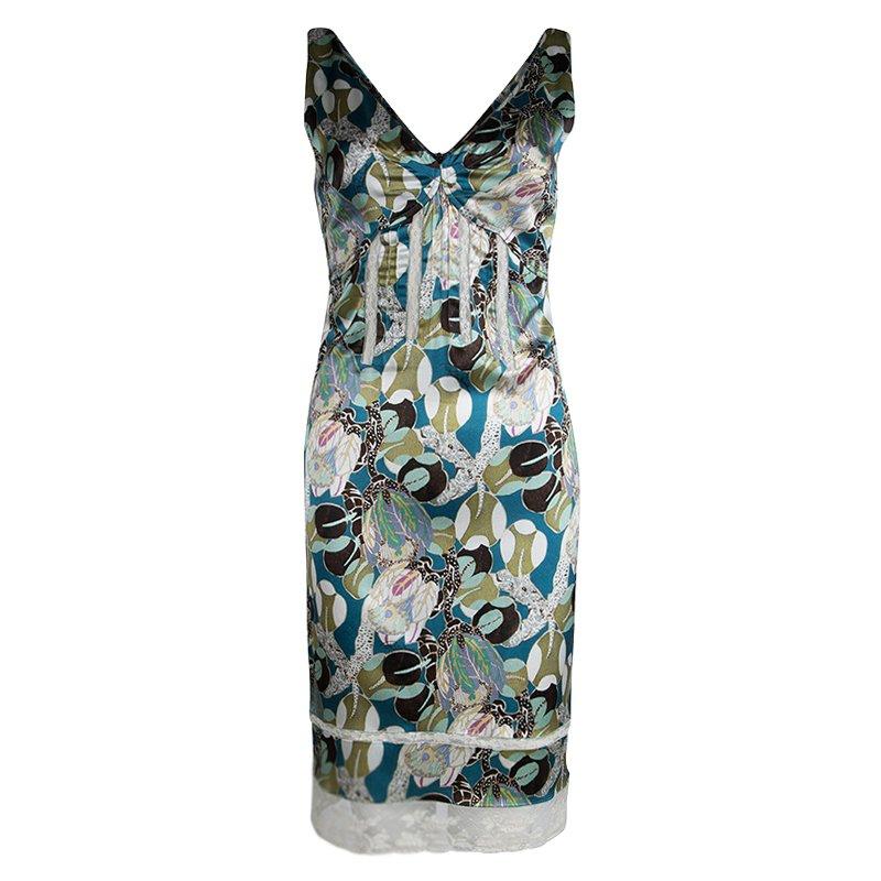 01d267cb79b02c ... Roberto Cavalli Multicolored Printed Silk Lace Insert Sleeveless Dress  S. nextprev. prevnext