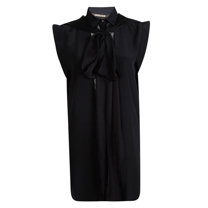 e16d097da018b2 Buy Roberto Cavalli Black Silk Lace Insert Tie Detail High Low Tunic ...
