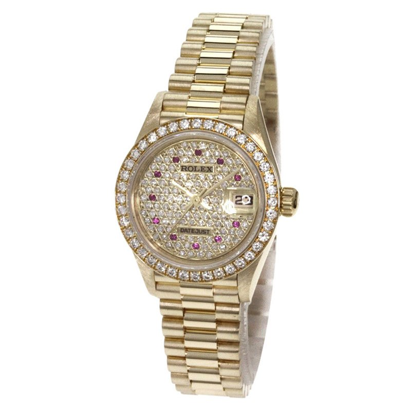 f7c392cc5 Buy Rolex Diamond Pave 18K Yellow Gold Diamond Datejust Women's ...