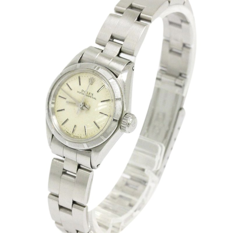 Rolex Ivory Stainless Steel Oyster Perpetual Women's Wristwatch 24MM