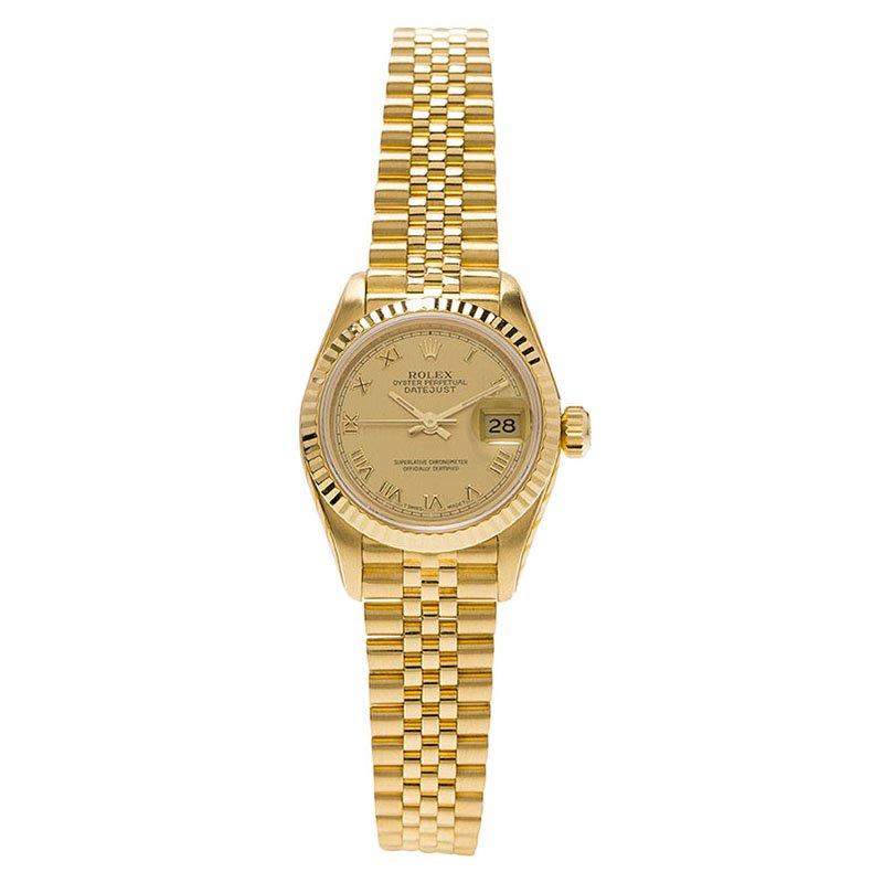 944e627c71fce إشتري ساعة يد نسائية رولكس ديت جست ذهب أصفر عيار 18 سوداء 26 مم ...