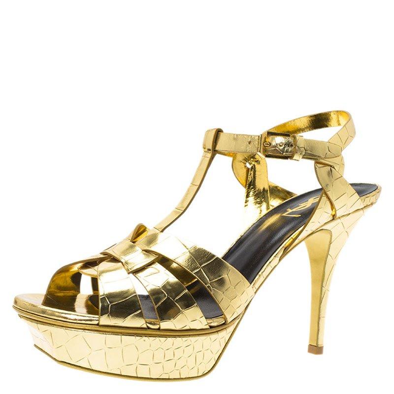 6cbeb2f12c Saint Laurent Paris Gold Croc Embossed Leather Tribute Platform Sandals  Size 39.5