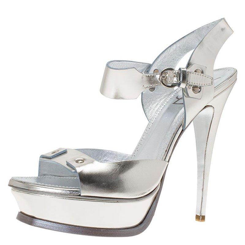 14ff8967514 Buy Saint Laurent Paris Metallic Silver Leather Ankle Strap Platform ...
