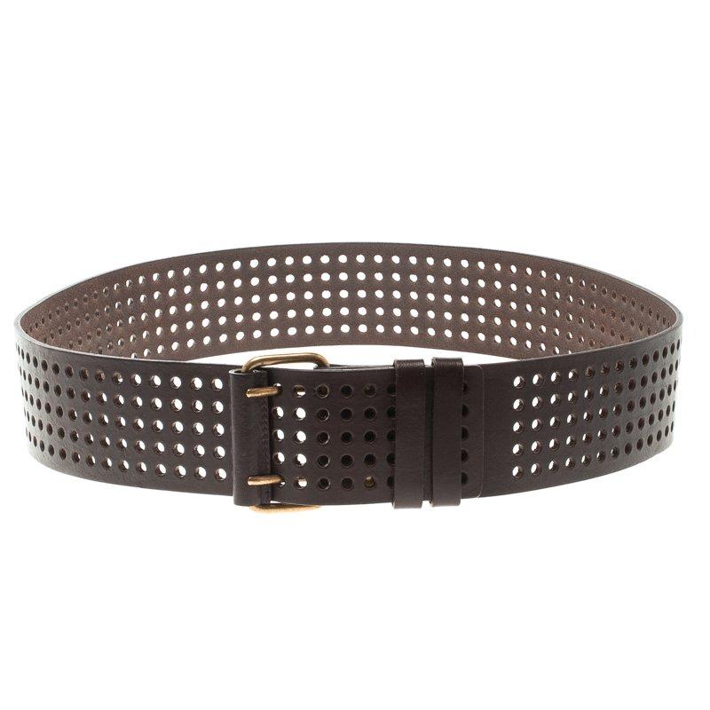 Saint Laurent Paris Dark Brown Perforated Leather Belt 90 CM