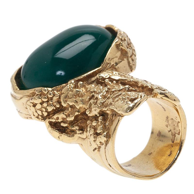 Saint Laurent Paris Arty Green Gold Tone Ring Size 49
