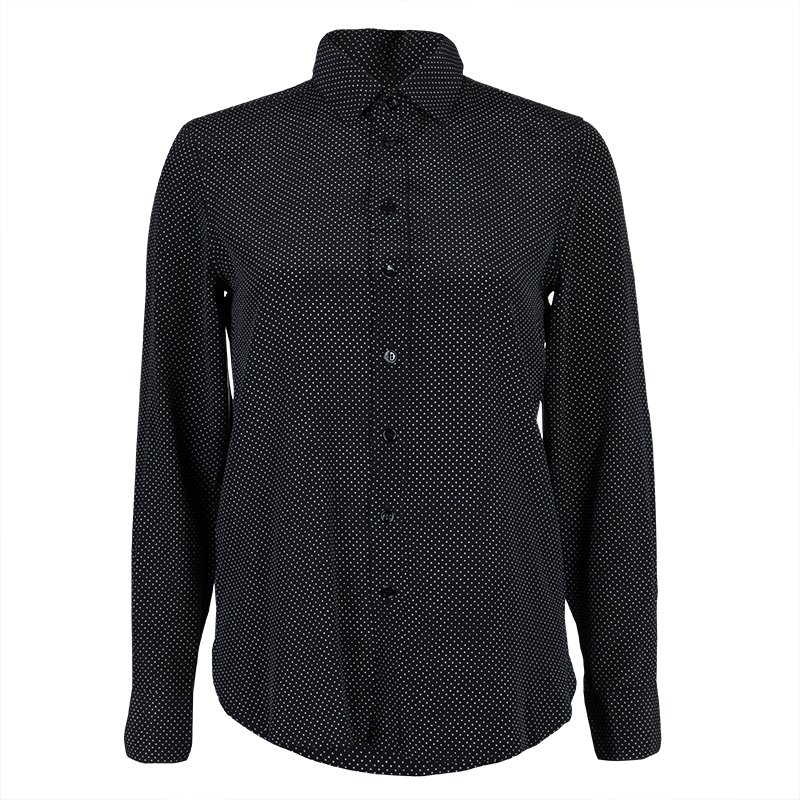69763bb7eca8e Buy Saint Laurent Paris Black Polka Dot Print Long Sleeve Buttondown ...