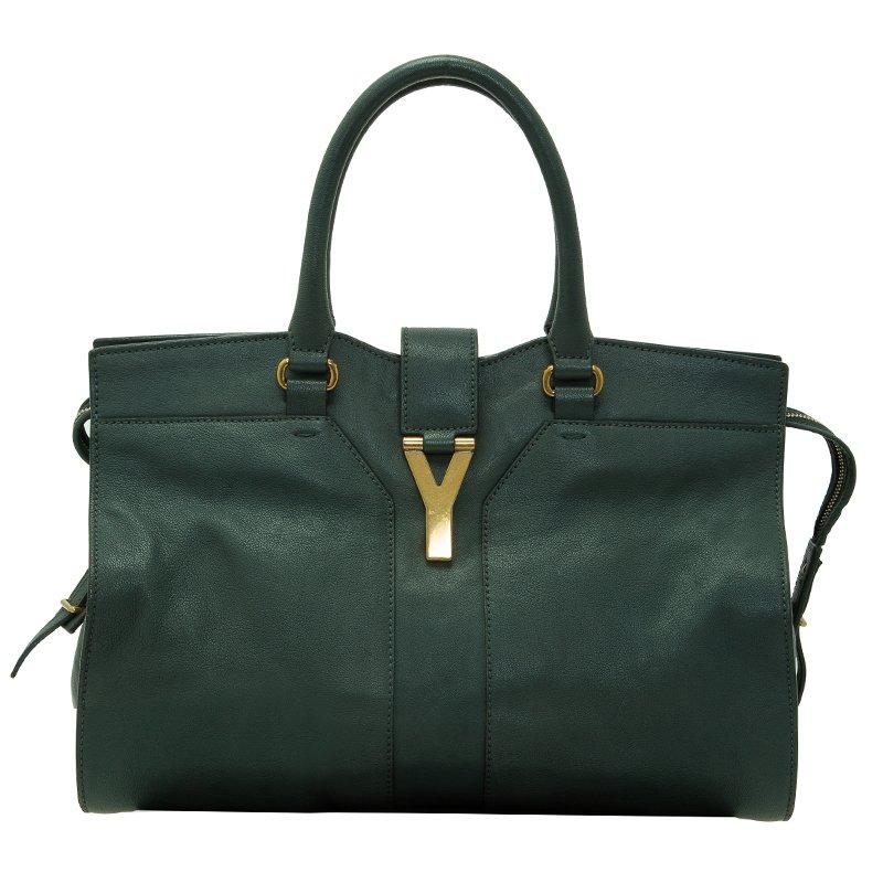 Saint Laurent Paris Green Leather Medium Cabas Chyc Satchel
