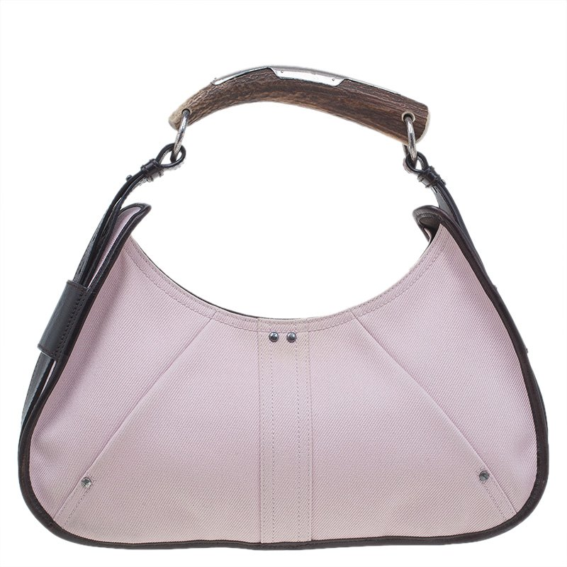 aab42a9992 ... Saint Laurent Paris Pink Denim Mombasa Horn Hobo. nextprev. prevnext