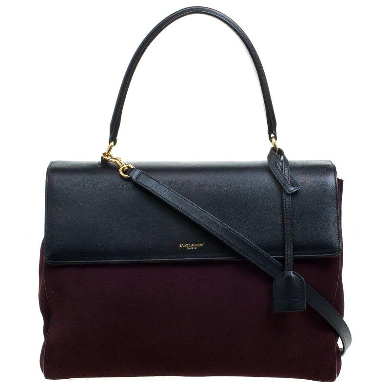 Buy Saint Laurent Paris Burgundy Black Suede and Leather Medium ... e4d5839b3f