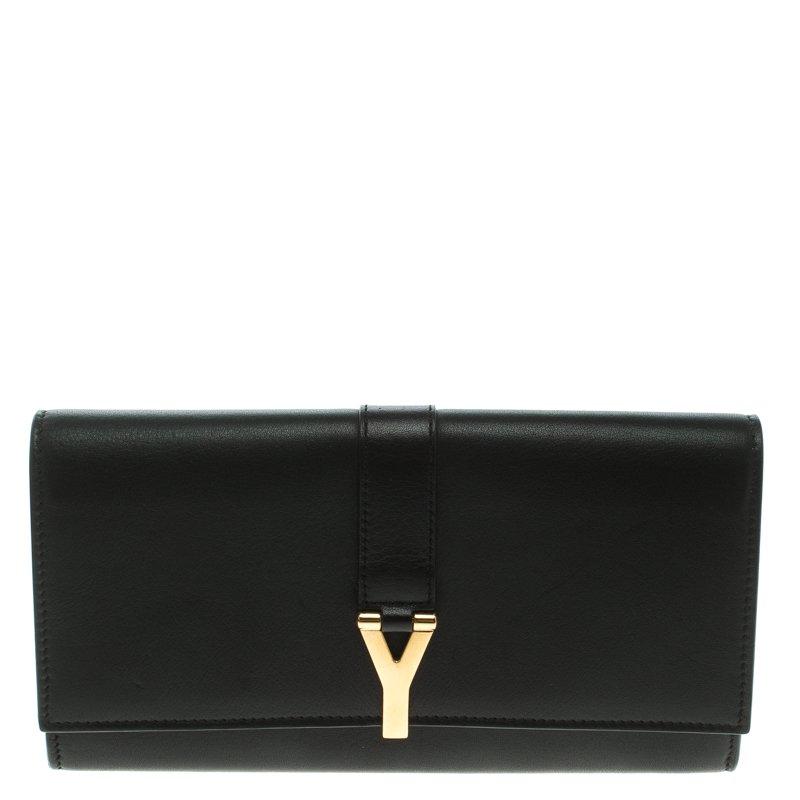 Saint Laurent Paris Black Leather Y Line Flap Wallet