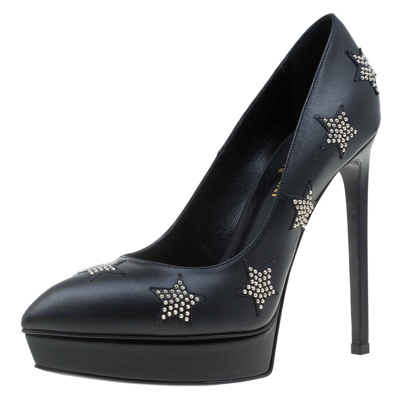 d2109319f04 Buy Saint Laurent Paris Black Studded Star Leather Platform Pumps ...