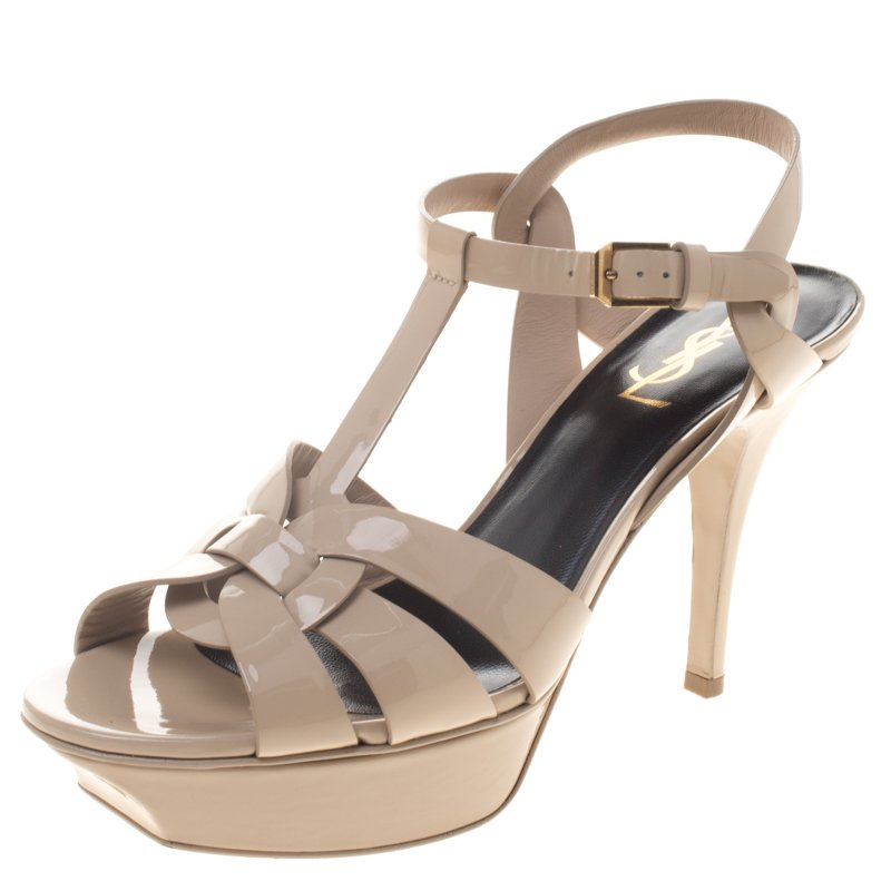 13b54316f7d ... Saint Laurent Paris Beige Patent Leather Tribute 75 Platform Sandals  Size 38.5. nextprev. prevnext