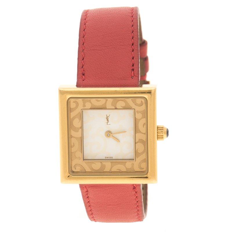Saint Laurent Paris White Gold Tone Women's Wristwatch 25 mm