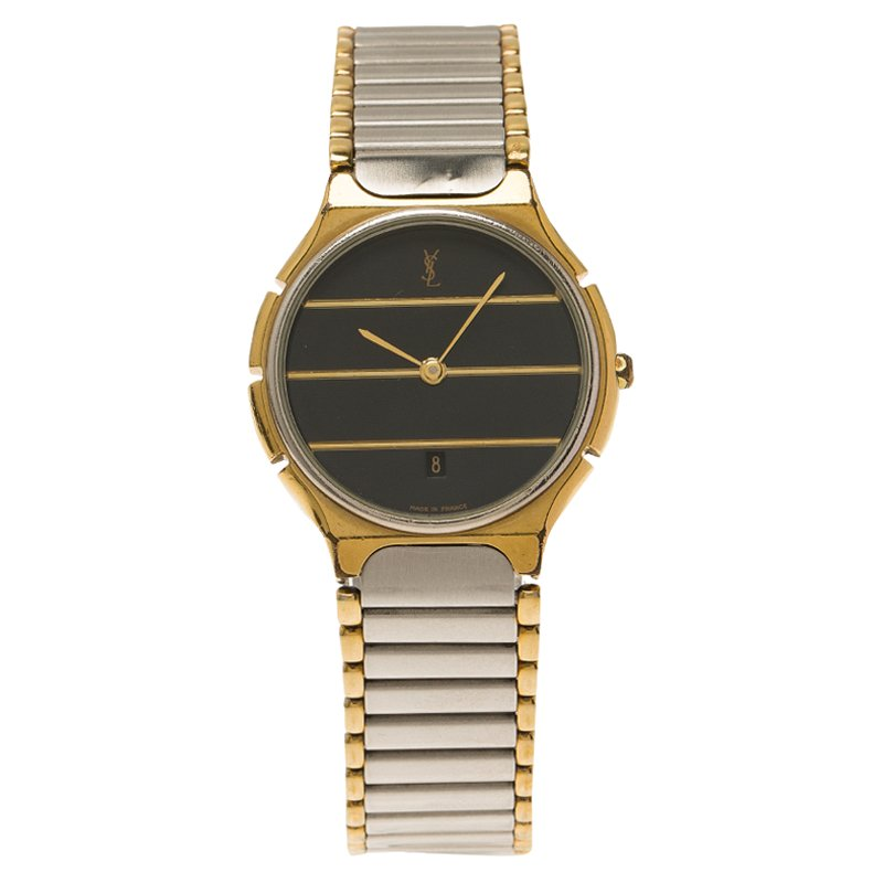 Saint Laurent Paris Black and Grey Gold-Plated Stainless Steel Classic Women's Wristwatch 30MM
