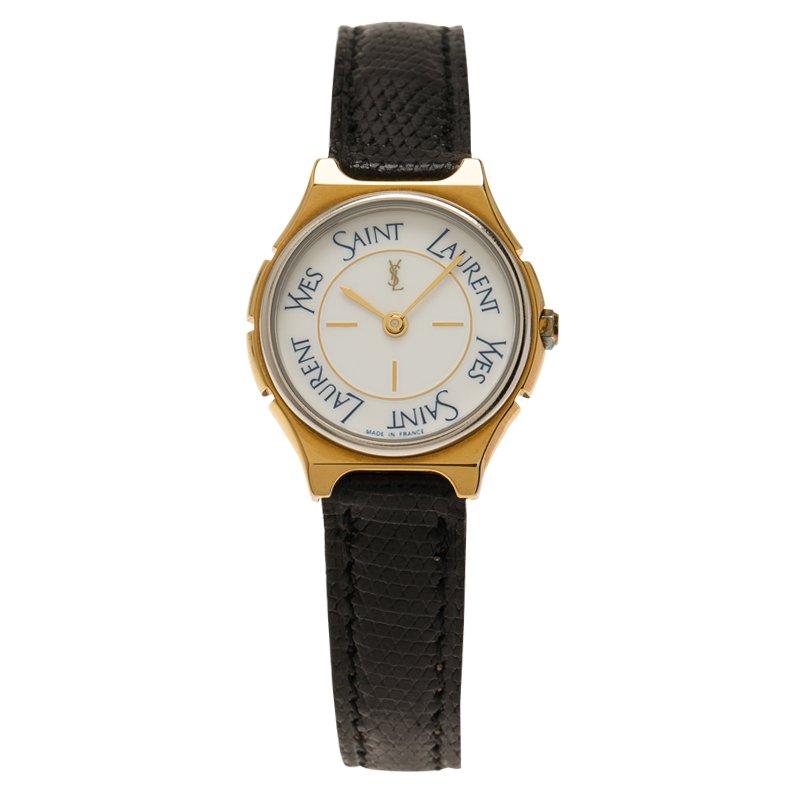 Saint Laurent Paris White Gold-Plated Stainless Steel Classic Women's Wristwatch 25MM