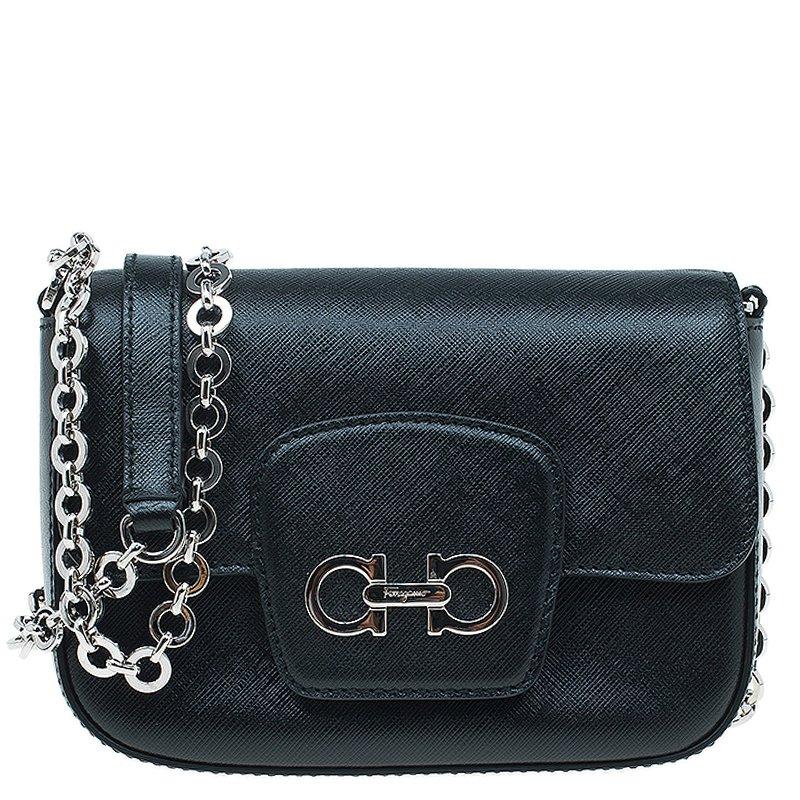 fbaf07861ebd ... Salvatore Ferragamo Black Saffiano Leather Paris Crossbody Bag.  nextprev. prevnext