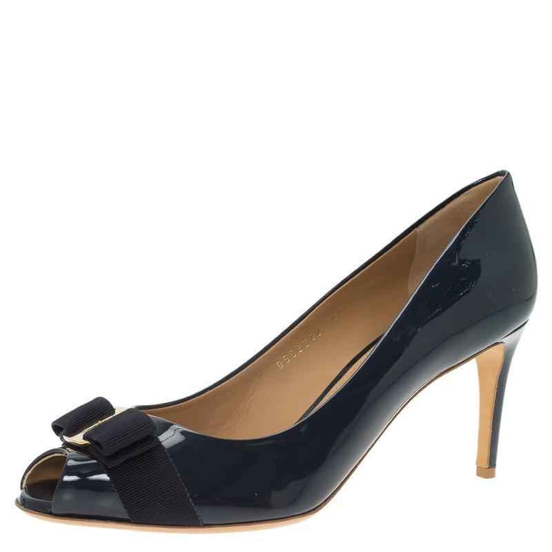 06a01a7dd6c ... Salvatore Ferragamo Navy Blue Patent Pola Vara Bow Peep Toe Pumps Size  40.5. nextprev. prevnext