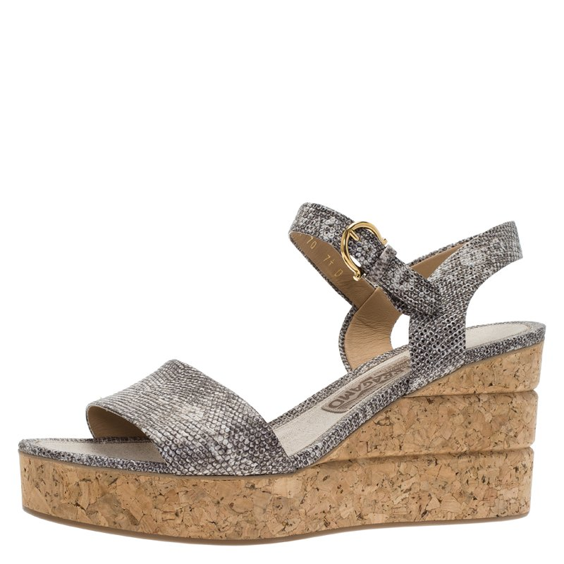 f28ea6c1df8 ... Salvatore Ferragamo Grey Snake Embossed Leather Madea Wedge Sandals  Size 38. nextprev. prevnext