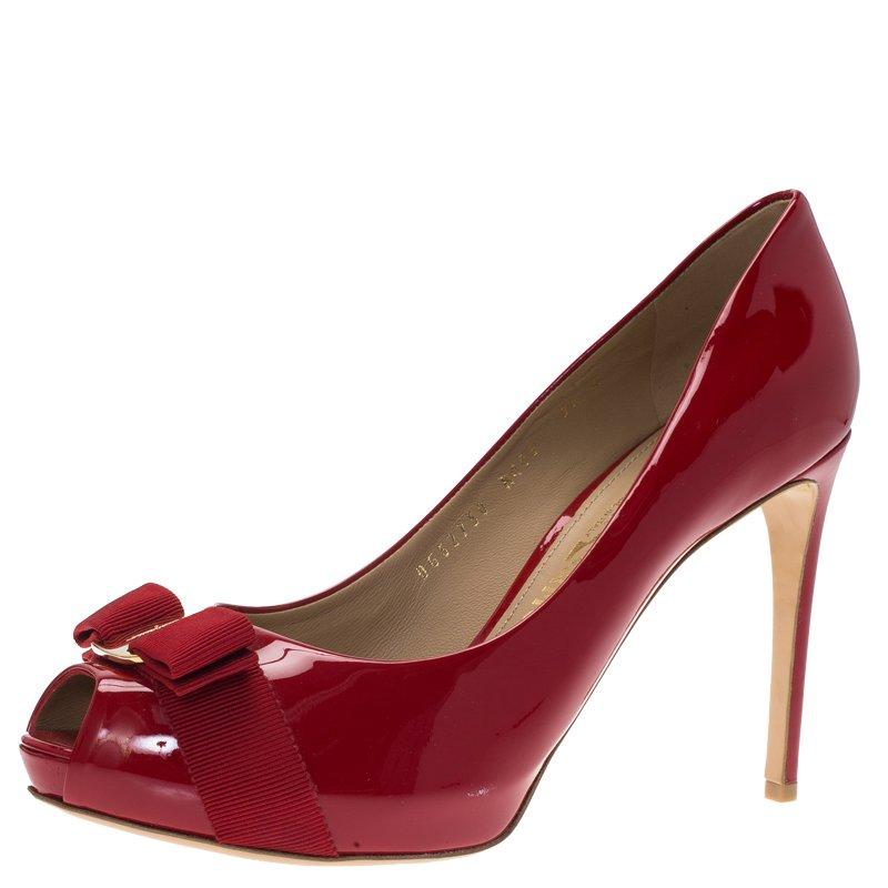 a45833a6f046 Buy Salvatore Ferragamo Red Patent Plum Peep Toe Platform Pumps Size ...