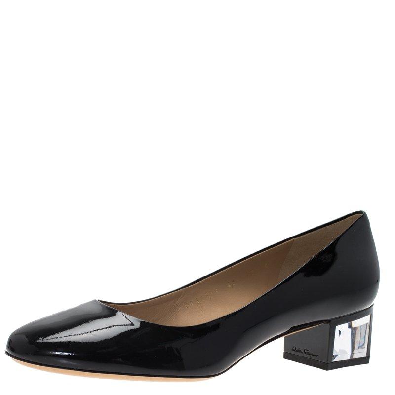 13c742e01e3 ... Chunky High Heels 035693. Prevnext. Prevnext. Salvatore Ferragamo Black  Patent Ninfea Lucite Block Heel Pumps