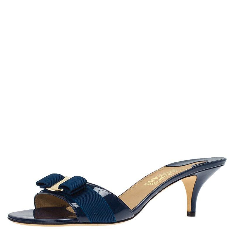 a8bb93ecbb Buy Salvatore Ferragamo Blue Patent Glory Bow Mules Size 42.5 79698 ...