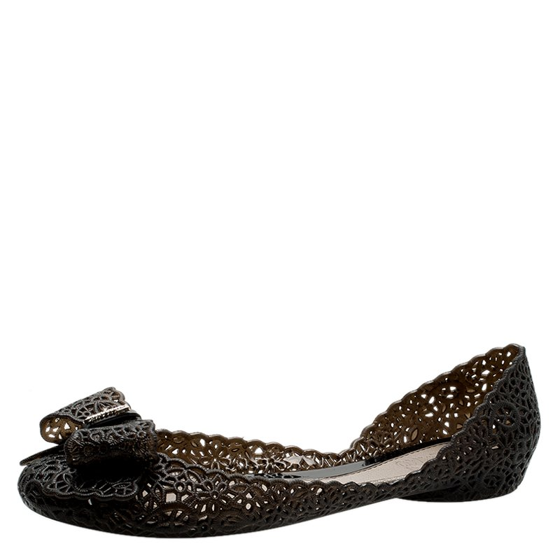 ab6026ba0 Salvatore Ferragamo Black Nilly Jelly Bow Ballet Flats Size 36 5. Salvatore  Ferragamo Sandals