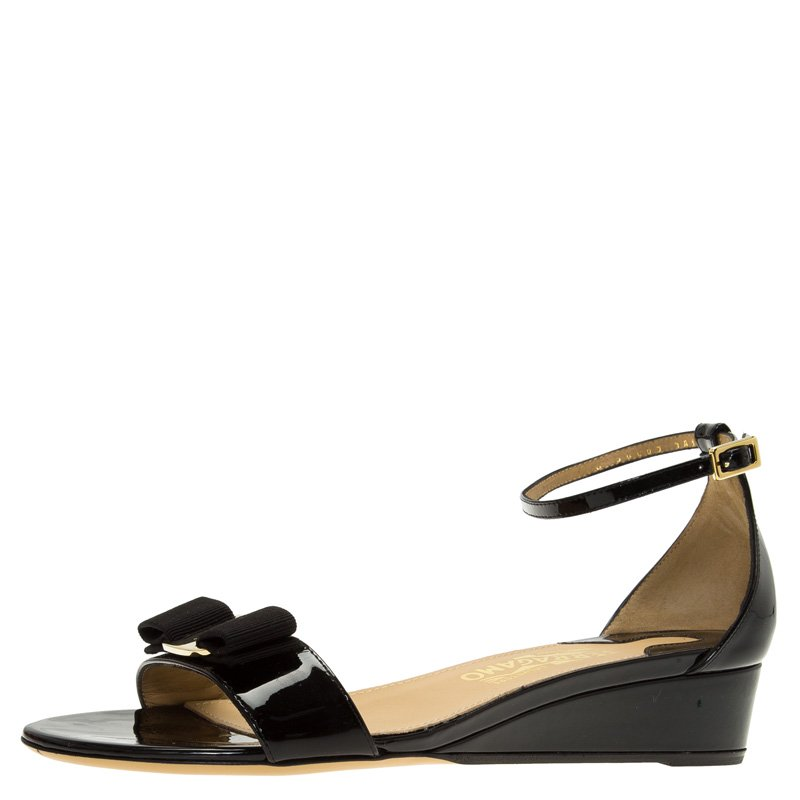 Buy Salvatore Ferragamo Black Patent Margot Vara Bow Ankle Strap ...