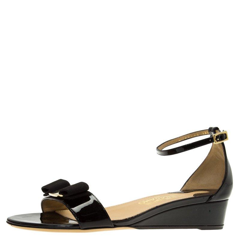 e85be47345f Buy Salvatore Ferragamo Black Patent Margot Vara Bow Ankle Strap ...