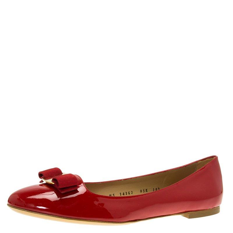Salvatore Ferragamo Red Patent Varina Ballet Flats Size 41