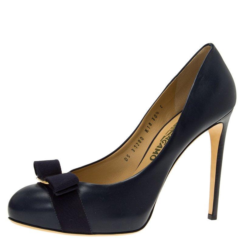 Salvatore Ferragamo Blue Leather Pimpa Vara Bow Pumps Size 41