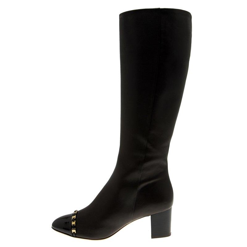 Salvatore Ferragamo Brown Leather Cap Toe Nanni Knee Boots Size 38.5