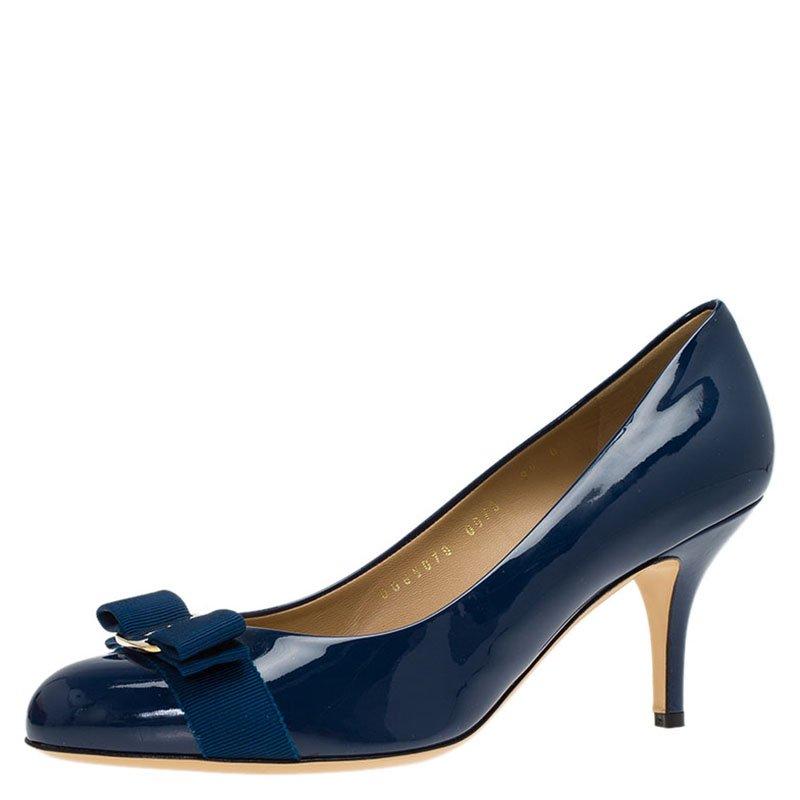 fb8cd24659f ... Salvatore Ferragamo Blue Patent Carla Vara Bow Pumps Size 40. nextprev.  prevnext