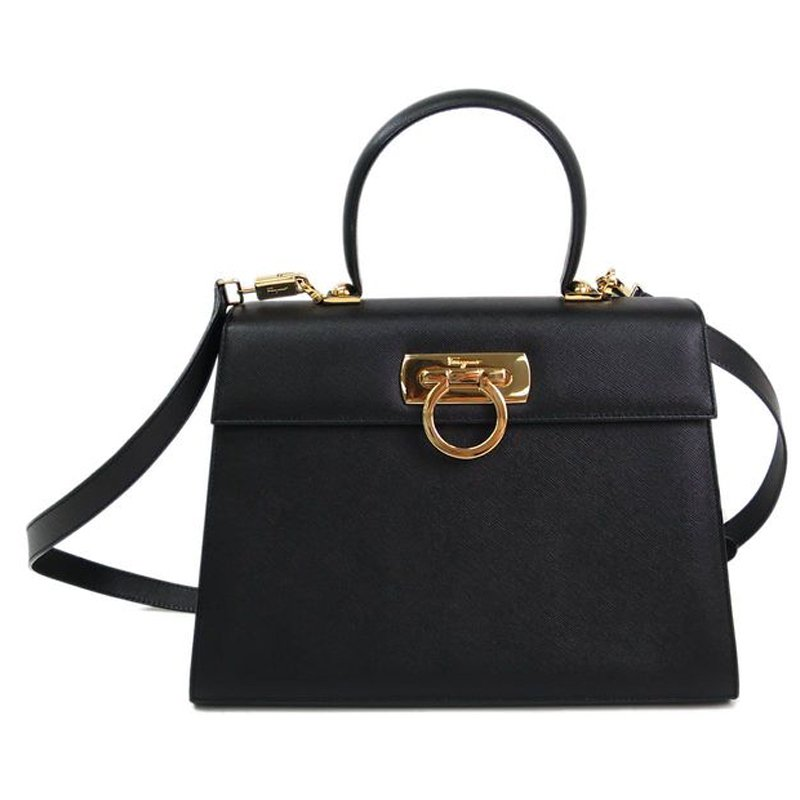 ... Salvatore Ferragamo Black Embossed Calfskin Leather Kelly Top Handle  Shoulder Bag. nextprev. prevnext 9aa20b1e60