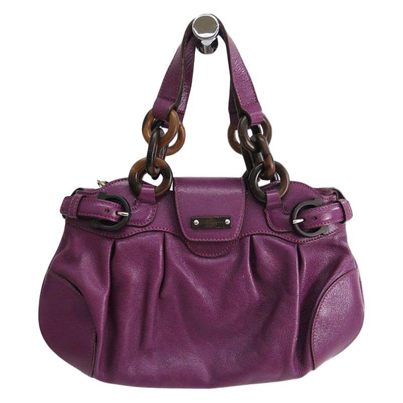 5c9e1871f0 ... Salvatore Ferragamo Purple Leather Marisa Shoulder Bag. nextprev.  prevnext