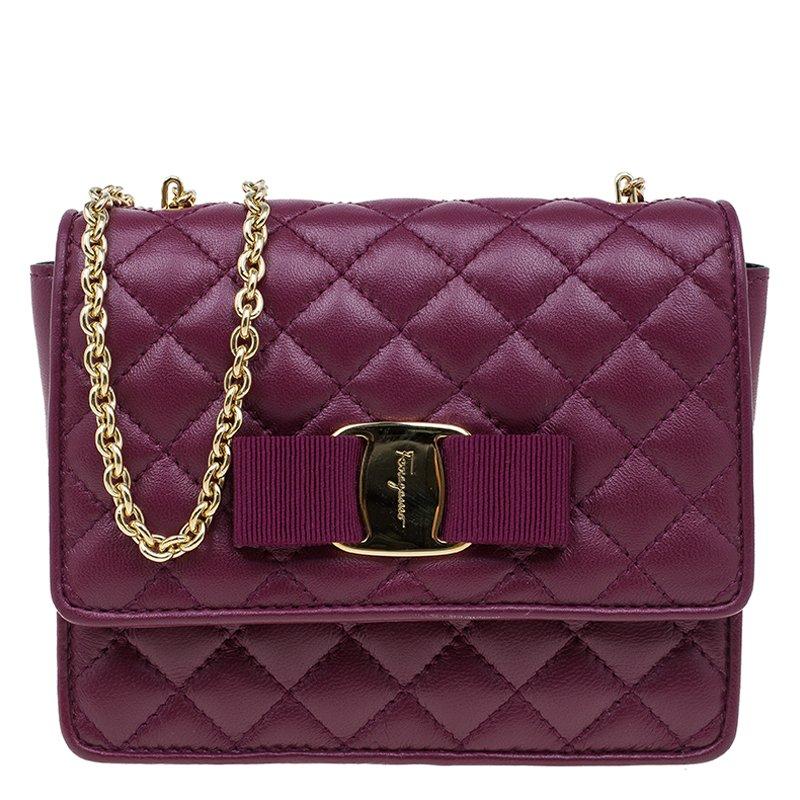 92d821c7d7d ... Salvatore Ferragamo Burgundy Quilted Leather Ginny Shoulder Bag.  nextprev. prevnext