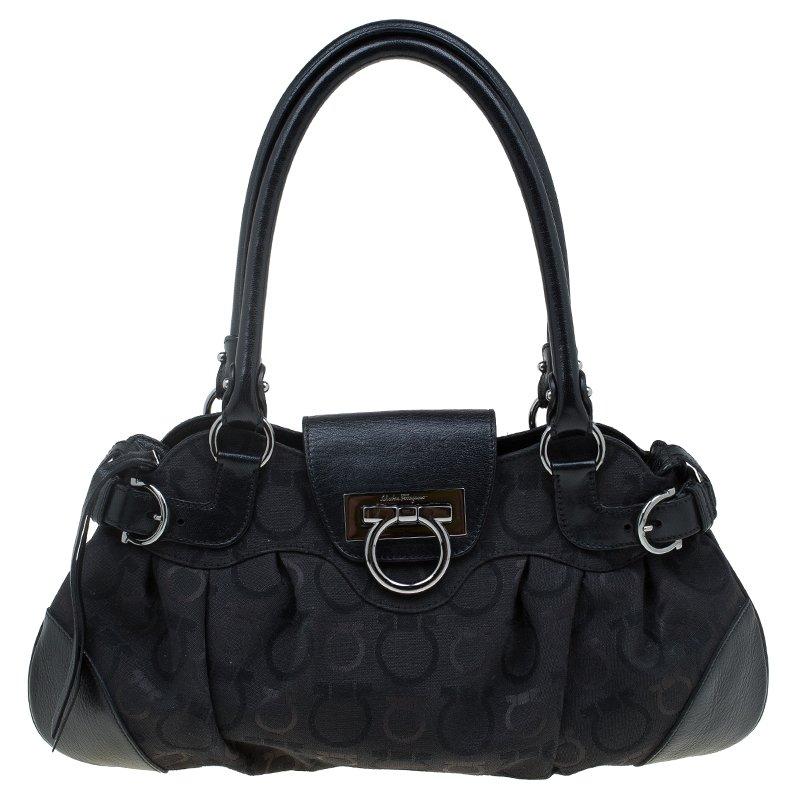 dbe377aca501 ... Salvatore Ferragamo Black Monogram Canvas Leather Marisa Shoulder Bag.  nextprev. prevnext