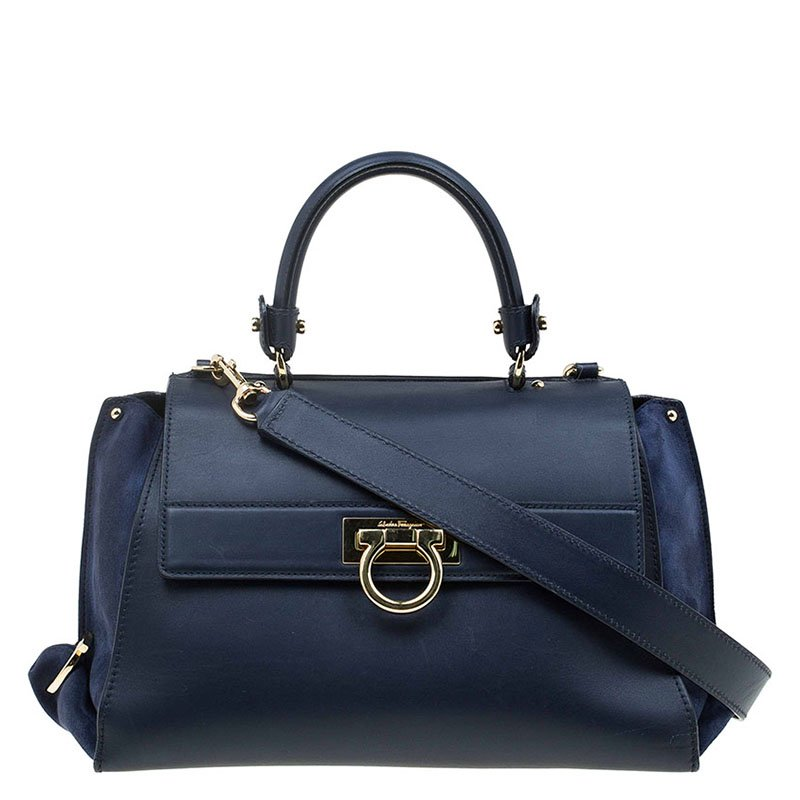 a5845612c7 ... Salvatore Ferragamo Navy Blue Leather and Suede Medium Sofia Top Handle  Bag. nextprev. prevnext