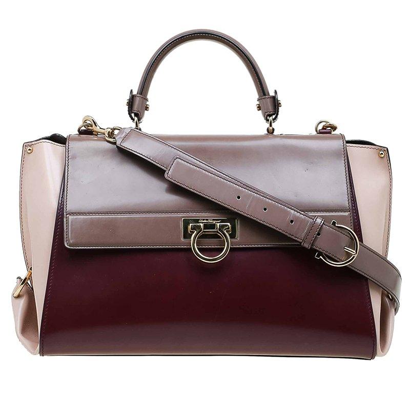 2869583b025e ... Salvatore Ferragamo Tri Color Glazed Leather Large Sofia Satchel.  nextprev. prevnext