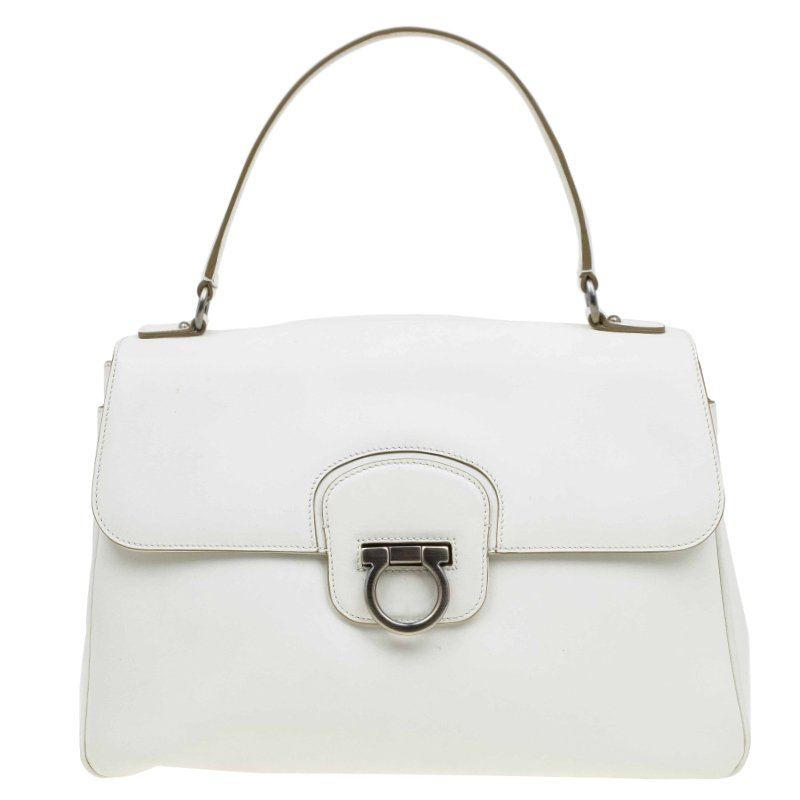 41f1cc7a24 ... Salvatore Ferragamo Off White Leather Top Handle Bag. nextprev. prevnext