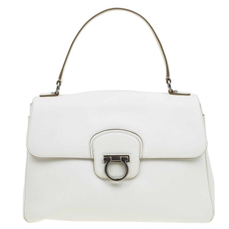 d47941ab7608c ... Salvatore Ferragamo Off White Leather Top Handle Bag. nextprev. prevnext