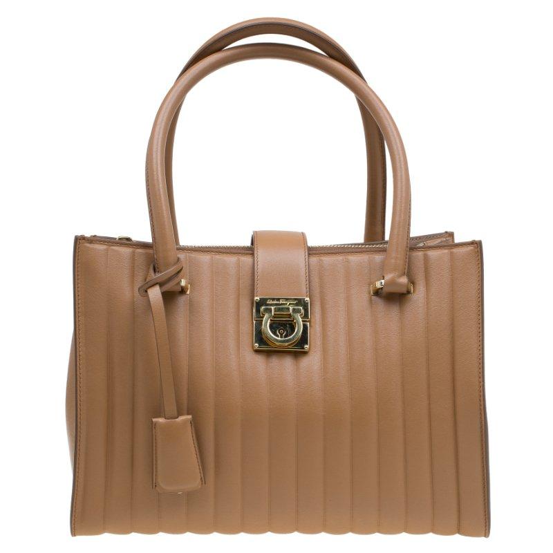 52985ec43ab6 ... Salvatore Ferragamo Brown Vertical Stripe Leather Marlene Tote.  nextprev. prevnext