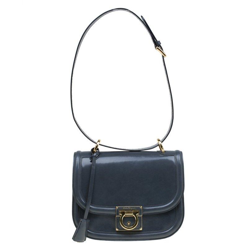 ... Salvatore Ferragamo Grey Patent Leather Jody Shoulder Bag. nextprev.  prevnext 33cdd3883c0e6