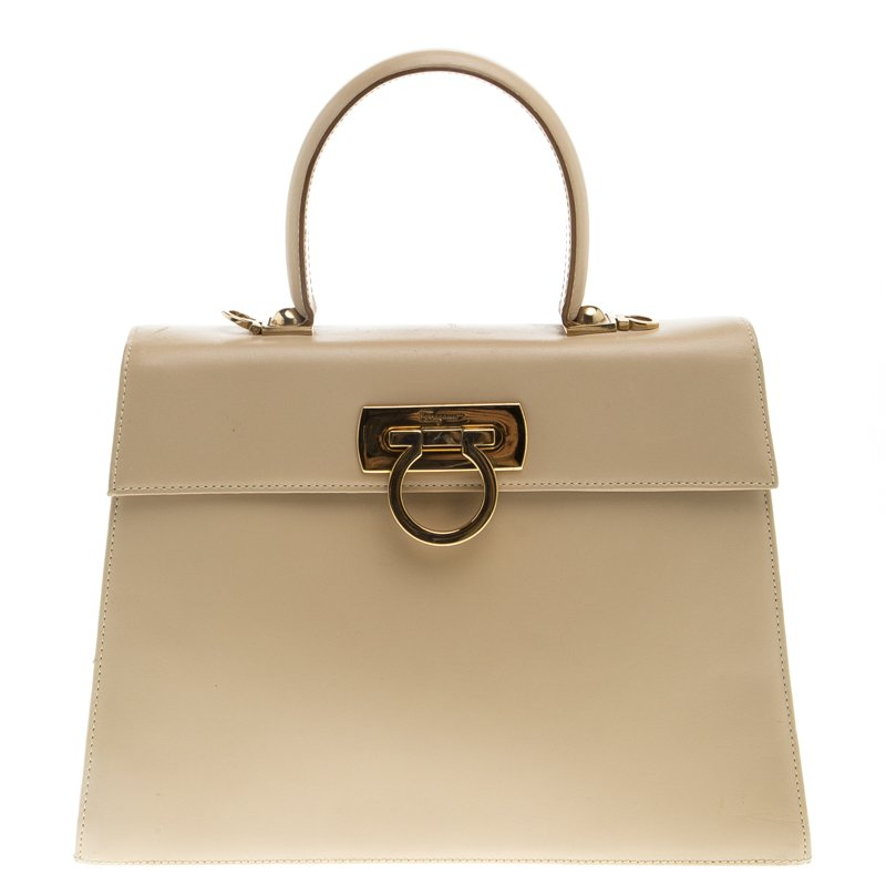 55a0bc5e6d Buy Salvatore Ferragamo Beige Leather Kelly Top Handle Bag 93583 at ...