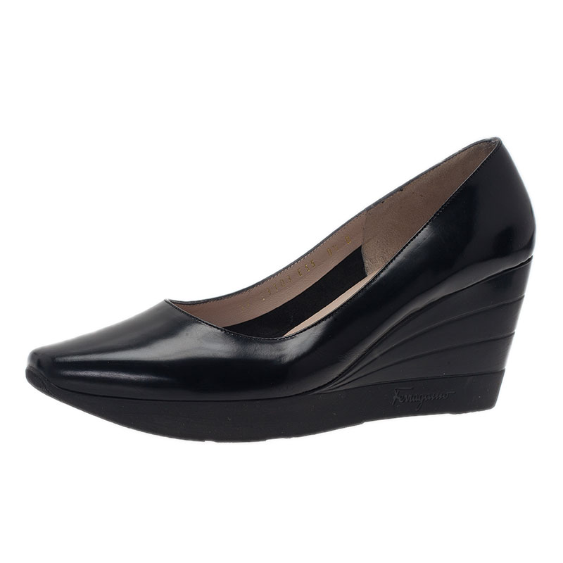 aa64a3cd26 Buy Salvatore Ferragamo Black Leather My Wings 55 Wedge Pumps Size ...